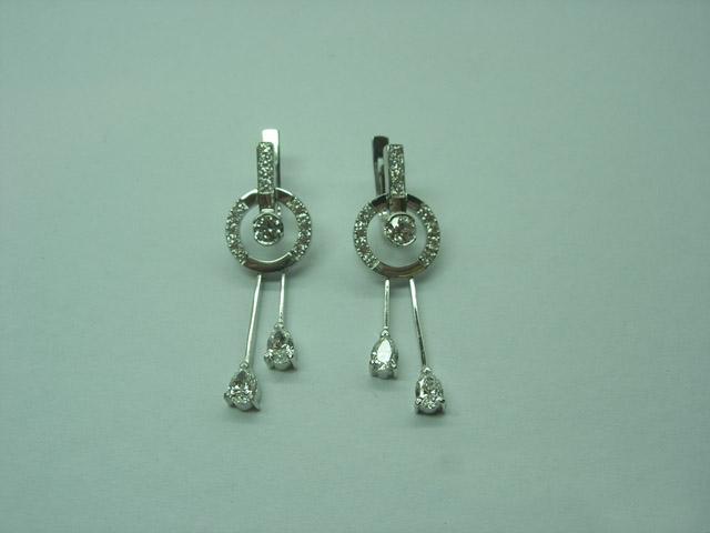 0744 серебряные серьги с фианитом